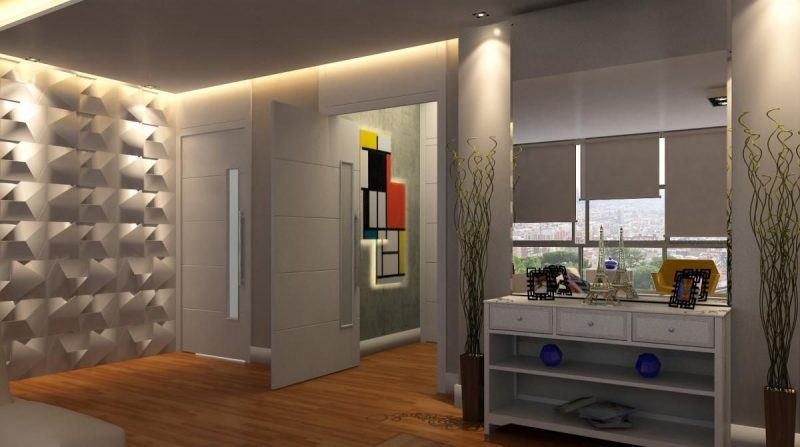 Decoração de parede de quarto de casal com revestimento 3D