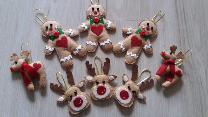 Enfeites decorativos de natal de Feltro