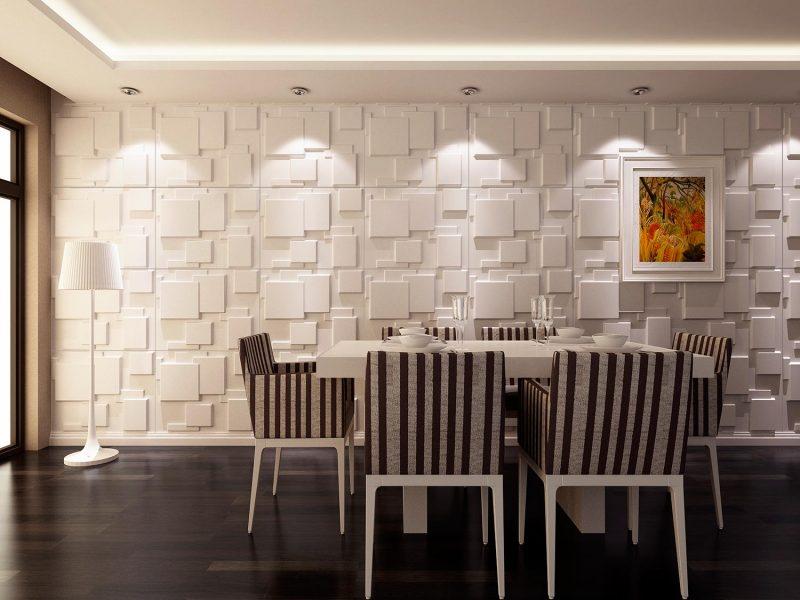 Revestimento de Mosaico em 3D em parede de sala de jantar