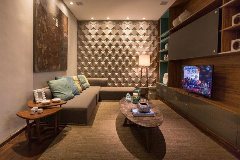 Sala de estar decorada com revestimento 3D
