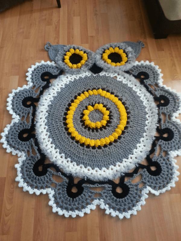 coruja-tapete de crochê