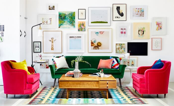 sala de estar moveis coloridos