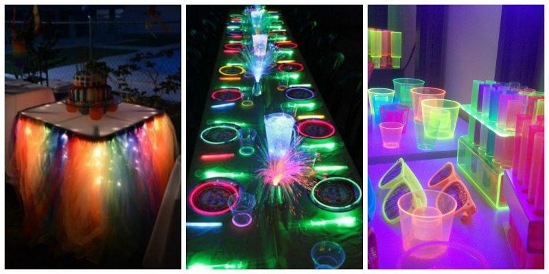 Festa neon copos e oculos coloridos