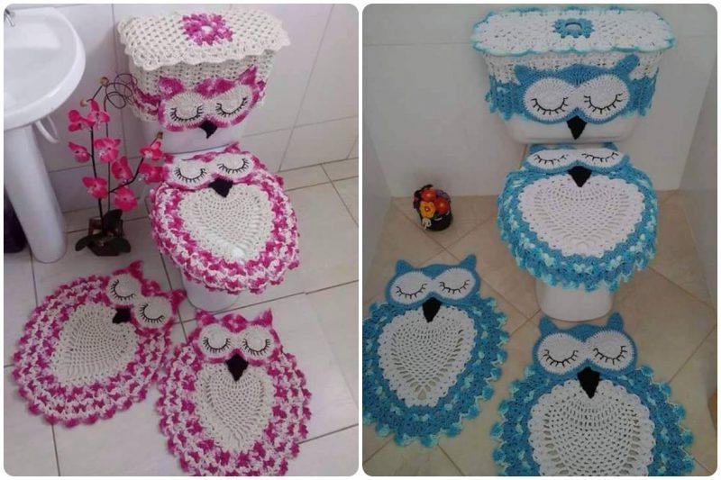 207b37ee1d988 Jogo de Banheiro de Crochê → Coruja, Flores, Vermelho e MAIS!!!