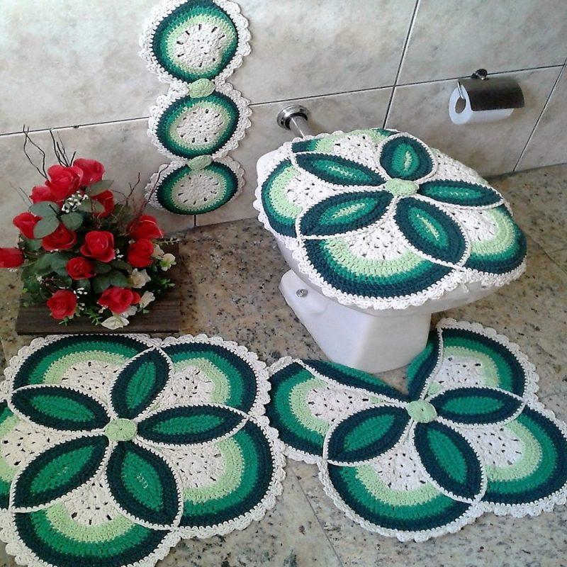 Jogo De Banheiro De Croche Coruja Flores Vermelho E Mais