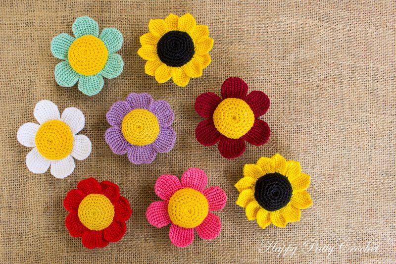 flores de crochê aplicação