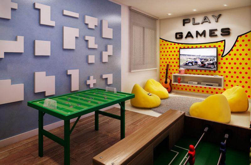 Sala de Jogos Simples e Pequena
