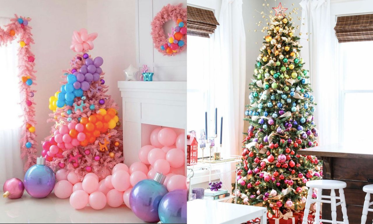 Árvore de natal rosa algodão-doce