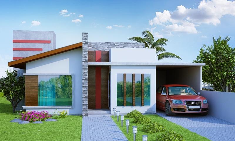 Fachadas de Casas Térreas Com Garagem na Frente