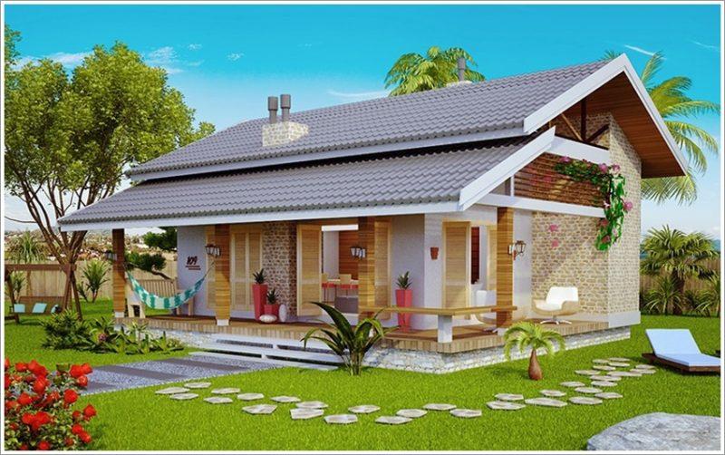Fachadas de Casas Térreas Com Telhado Embutido