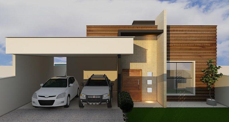 Fachadas de Casas Com Telhado Embutido