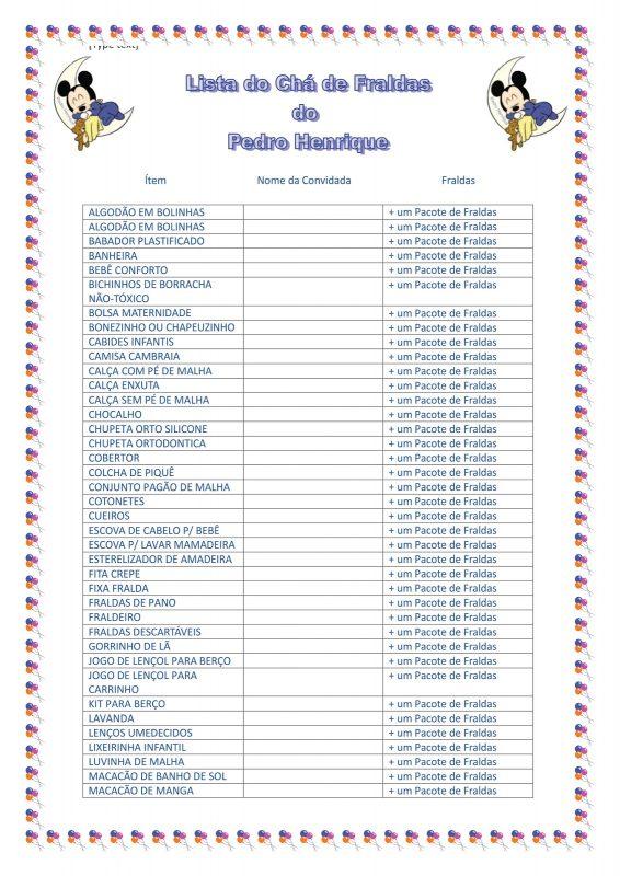 Lista de Chá de Bebê Para Imprimir