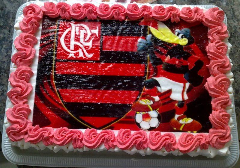 Bolo Do Flamengo De Aniversário Chantilly Quadrado E Simples
