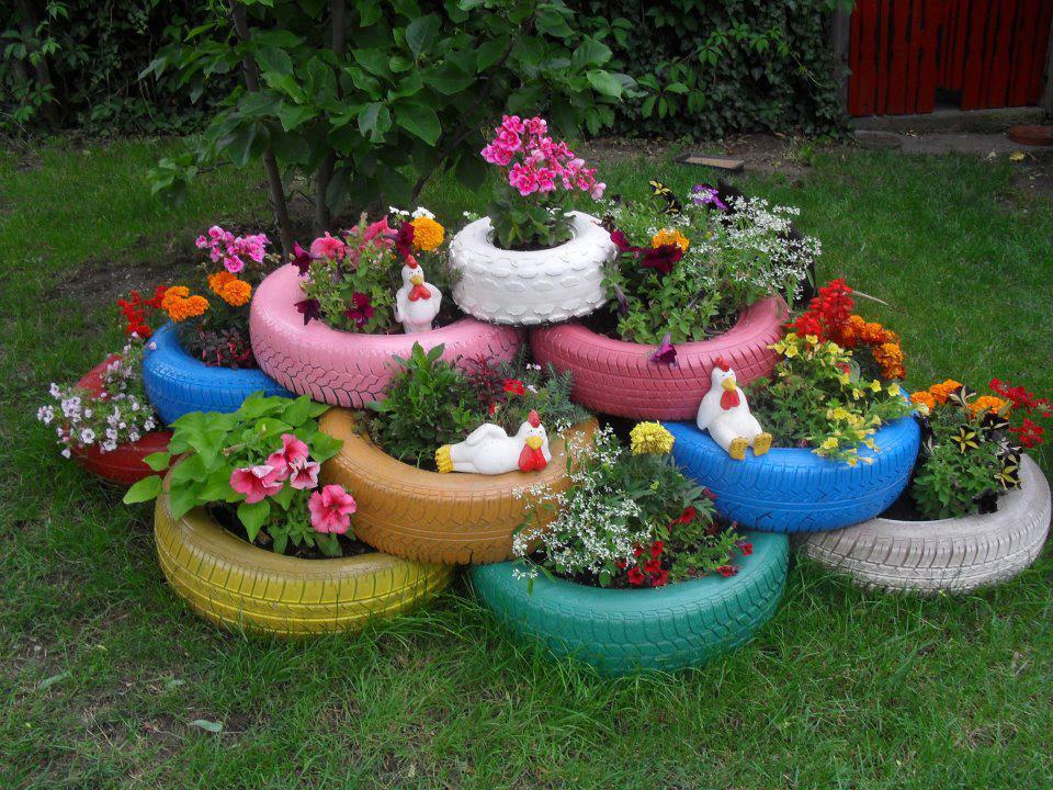 Decoração de Jardim Com Pneus
