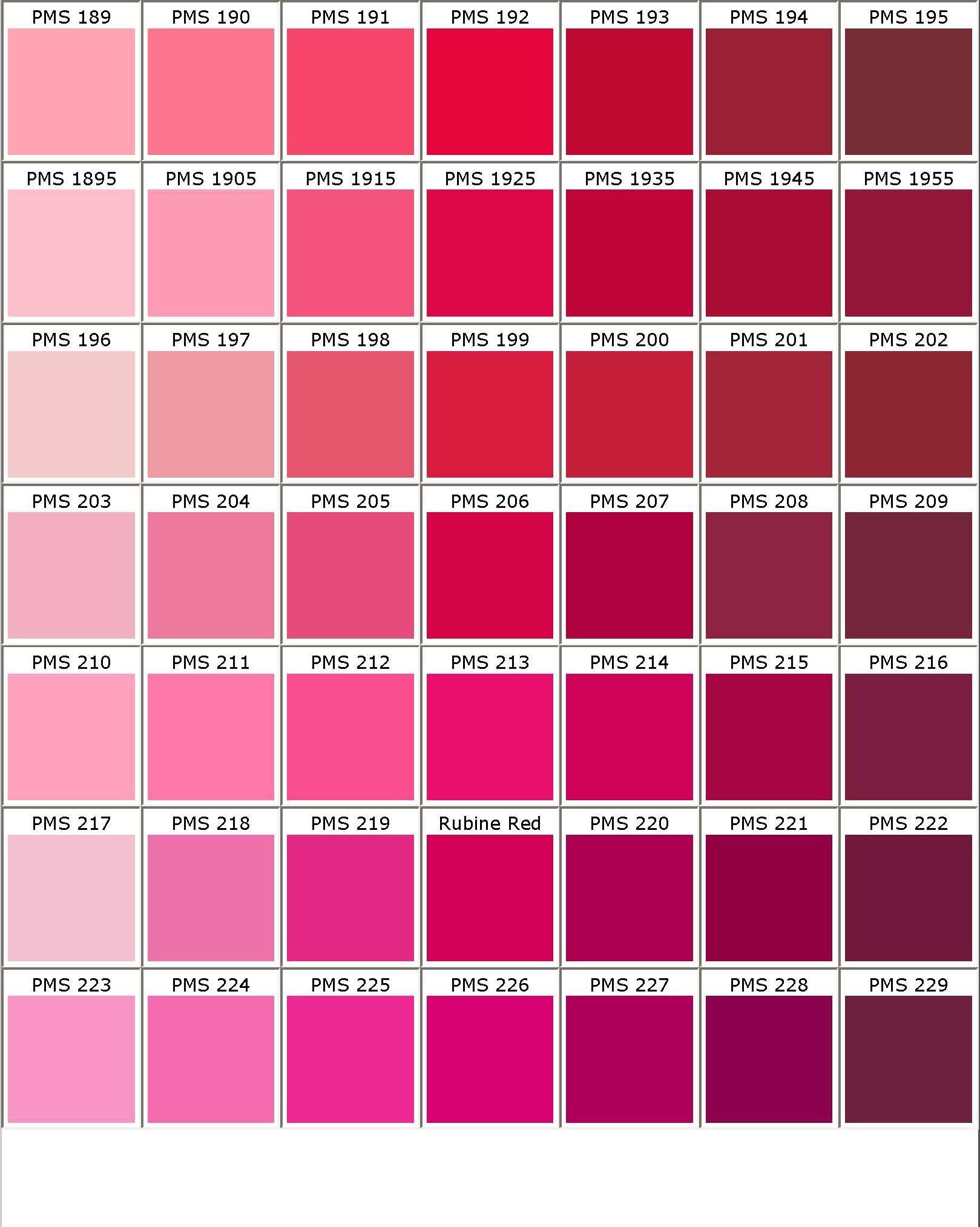 Tabela de Tons de Rosa