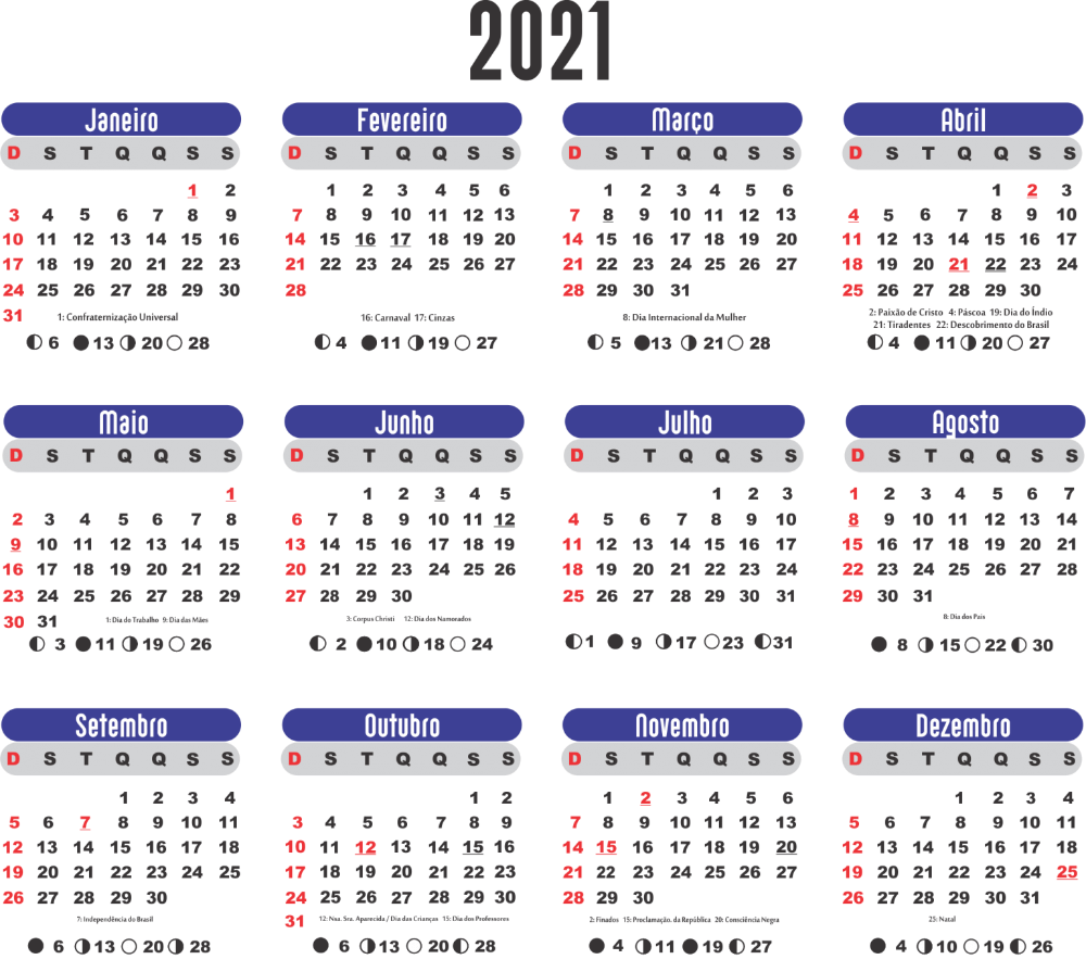Calendário Com Feriados 2021