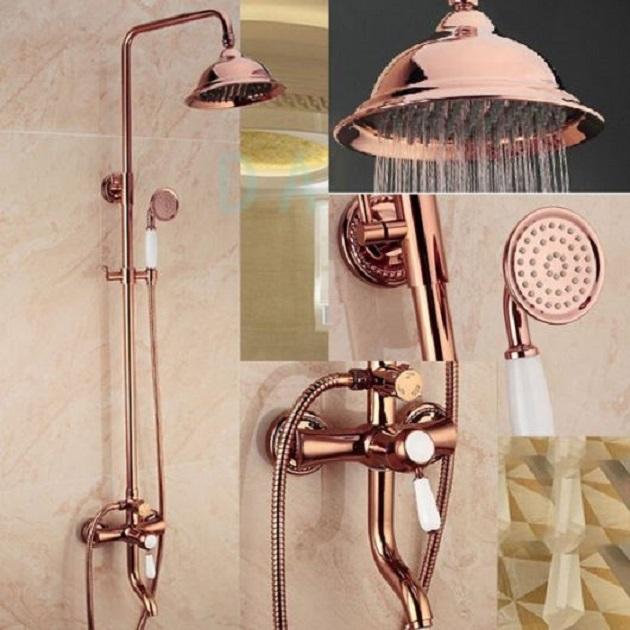 Banheiro Rosa Rose Gold Rosa E Branco Torneiras E Mais