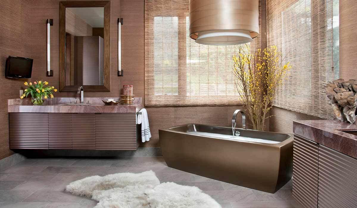 banheiro rosé gold