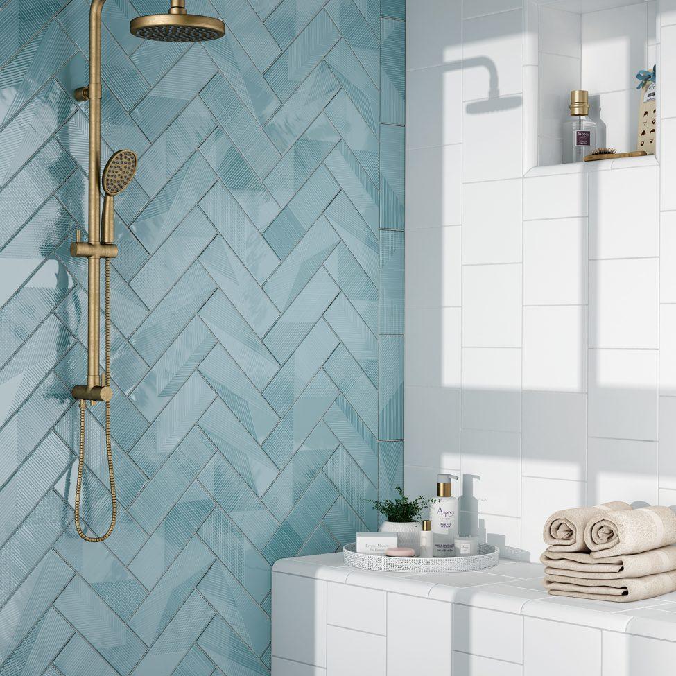 Azulejo Para Banheiro Azul