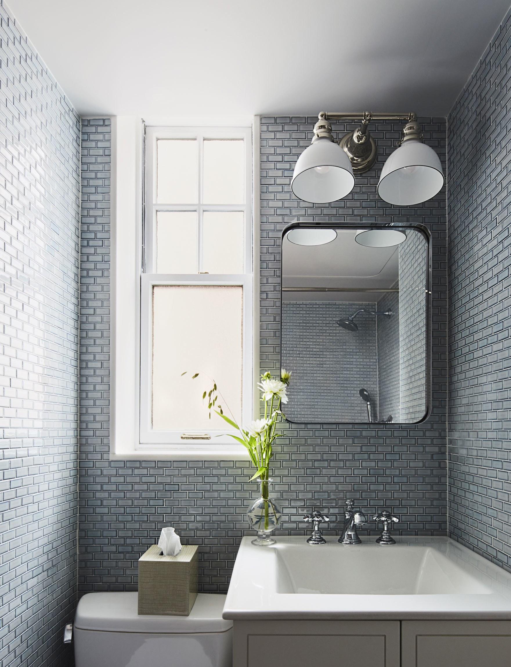 Azulejo Para Banheiro Quadriculado Pastilha 3d Azul