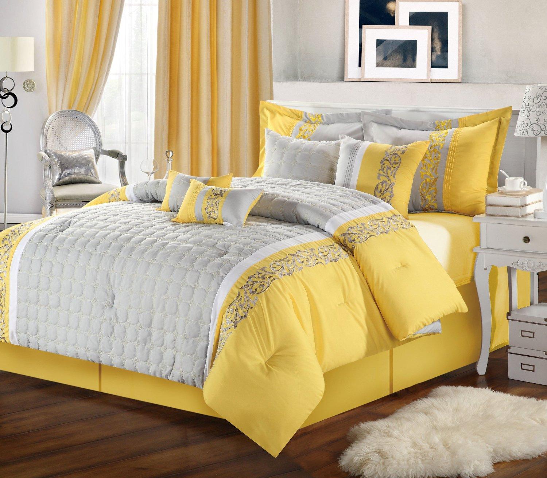 Quarto Cinza e Amarelo