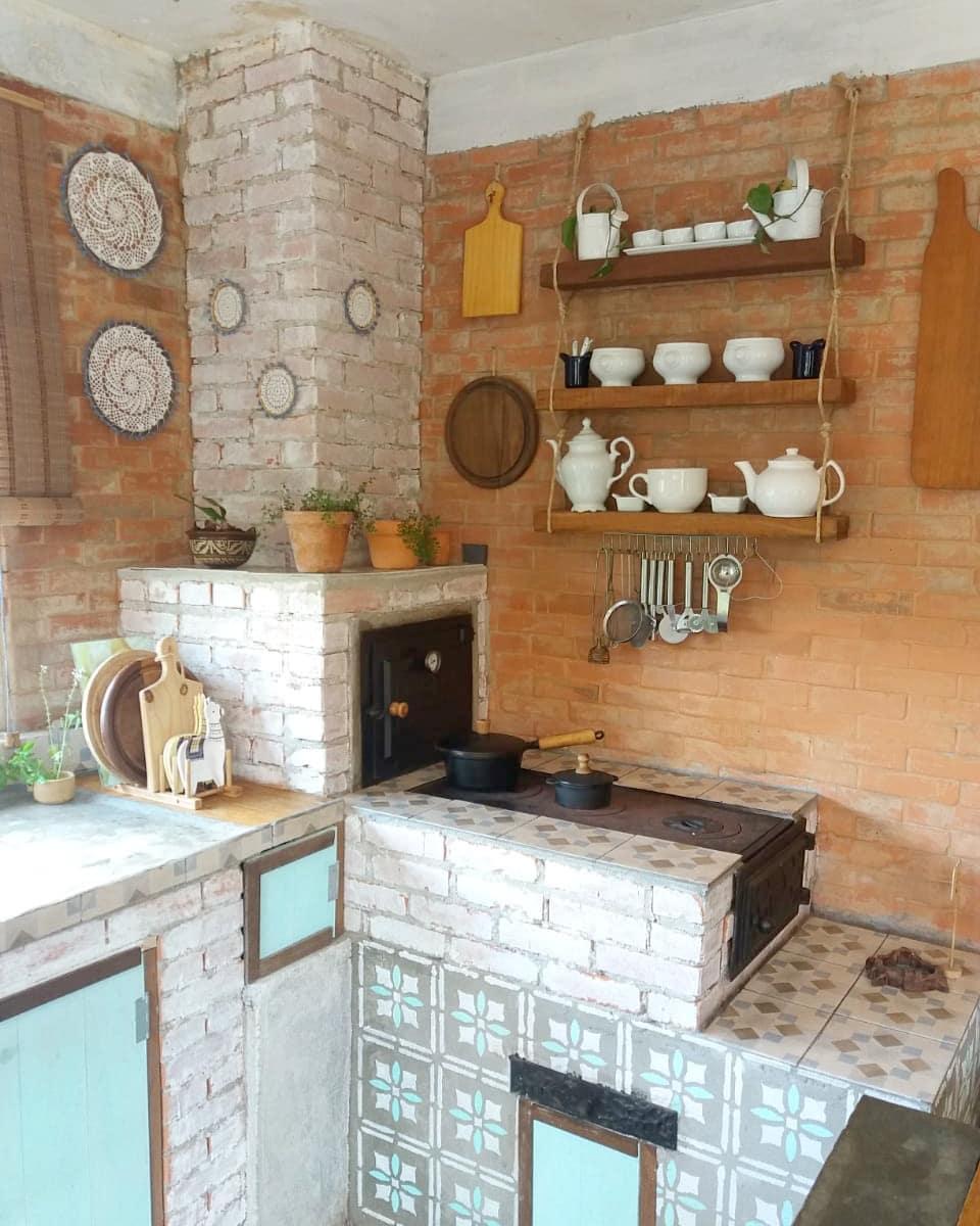 Cozinha Rústica Com Fogão a Lenha