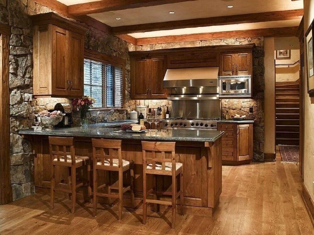 Cozinha Rústica de Madeira