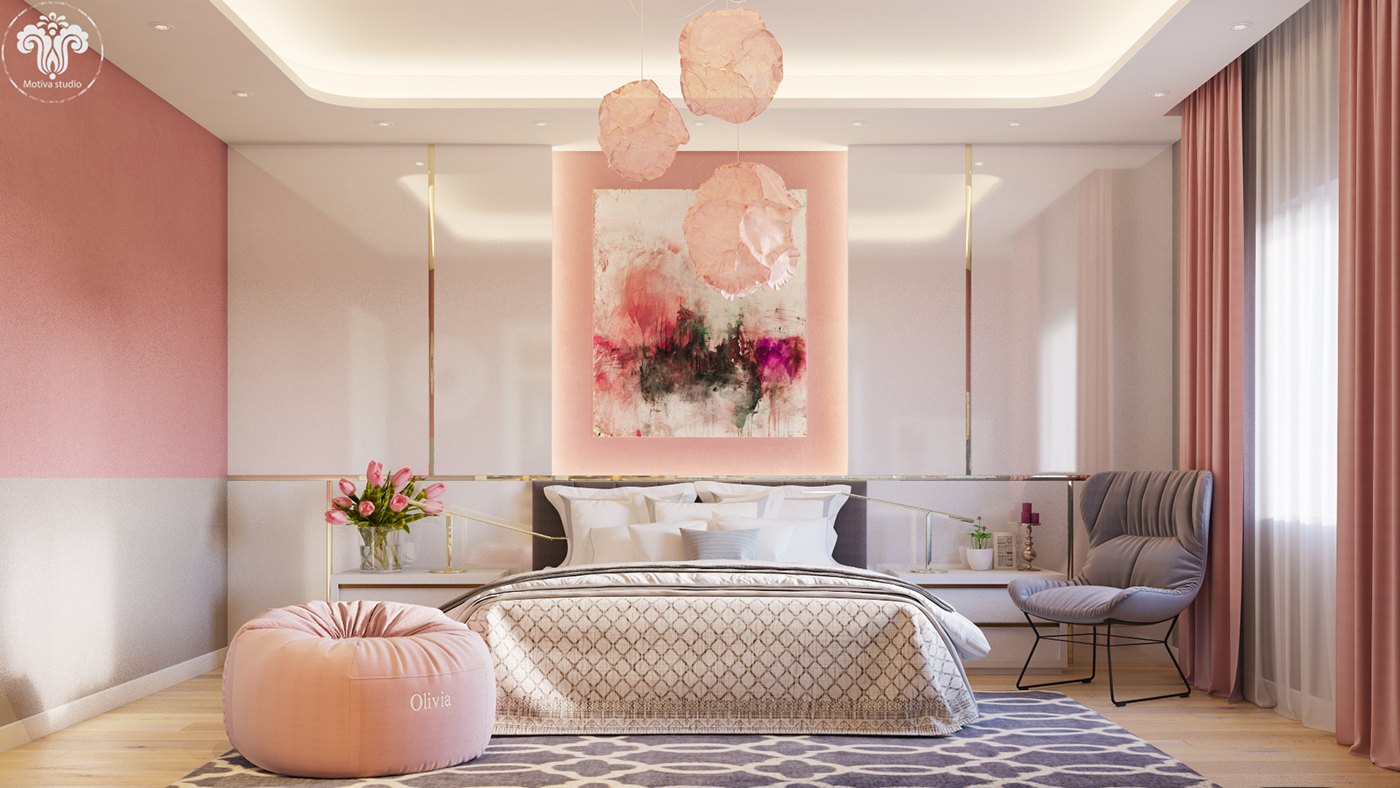 quarto de casal rosa