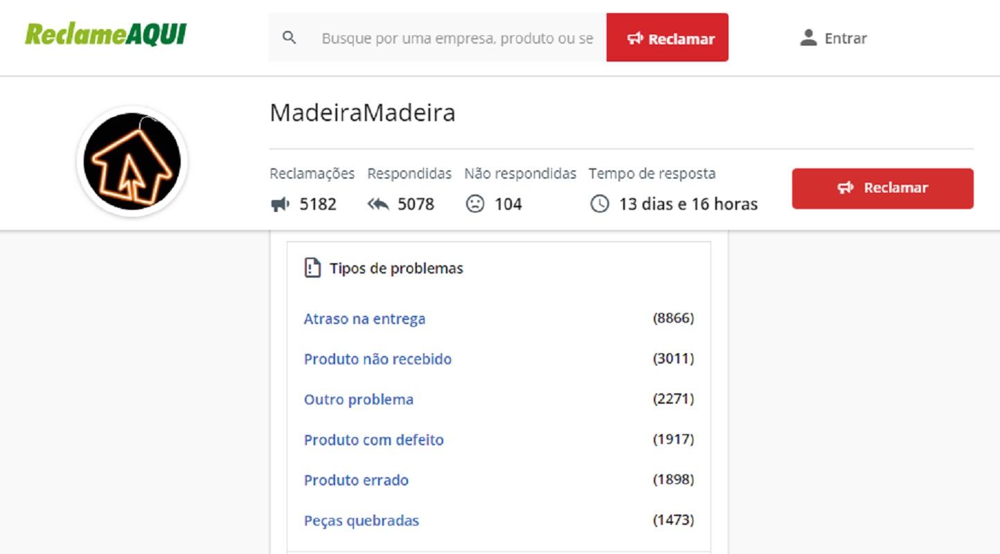 Madeira Madeira no Reclame Aqui
