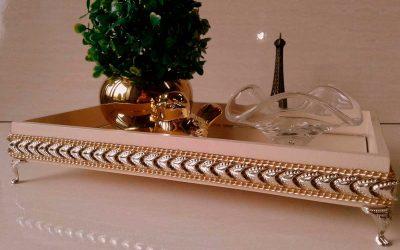 Bandeja Espelhada Ouro e Prata