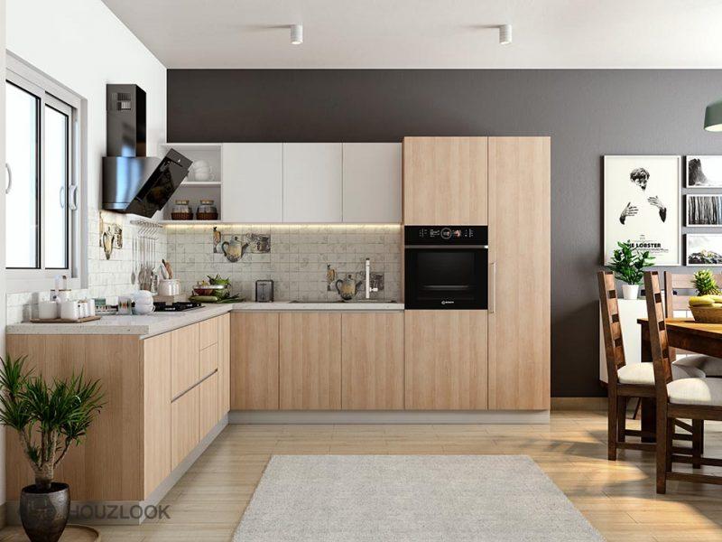 Projeto de Cozinha de Madeira Simples em L Planejada