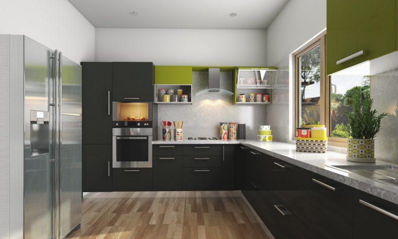 Projeto em L de cozinha moderna