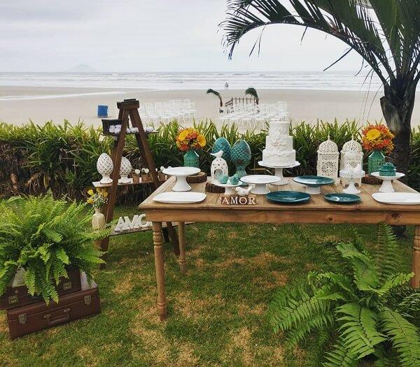 Decoração para bodas de prata na praia