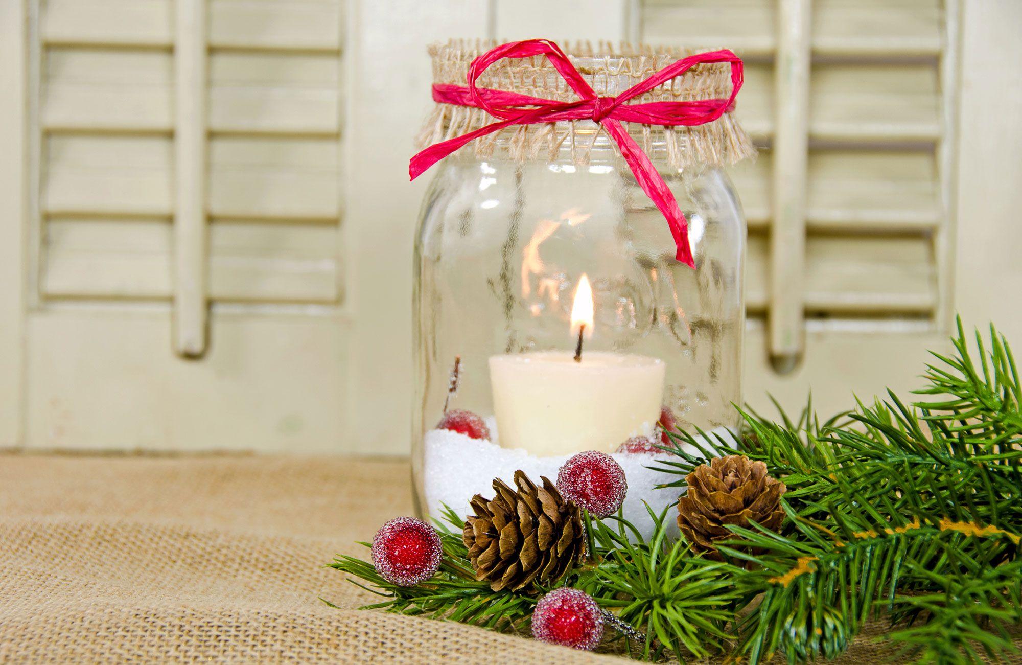 Arranjos de Natal em Vaso de Vidro