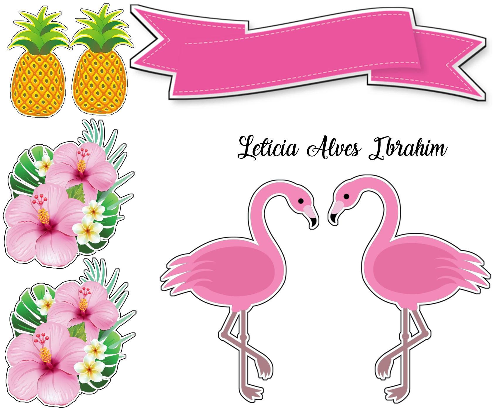 topper de bolo Flamingo