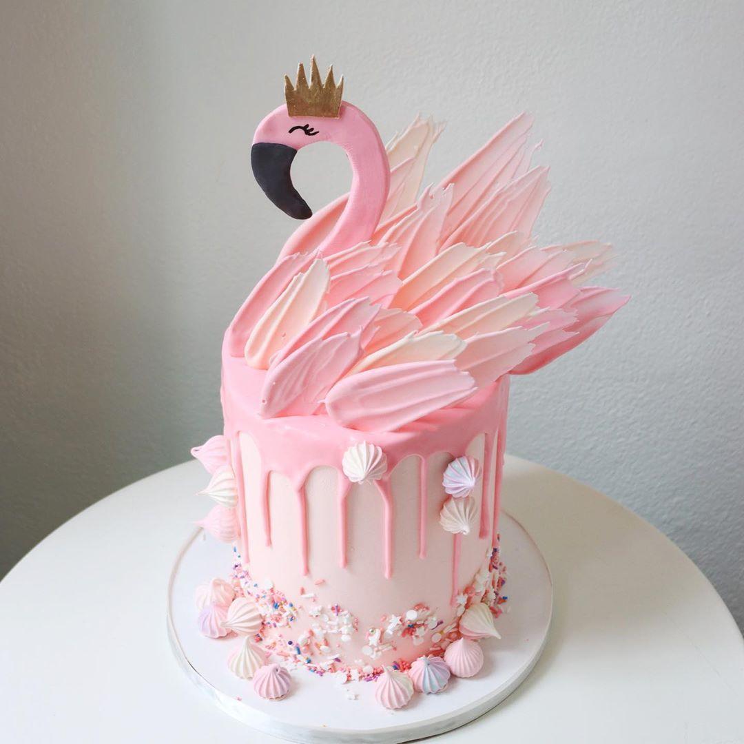 Bolo Flamingo redondo
