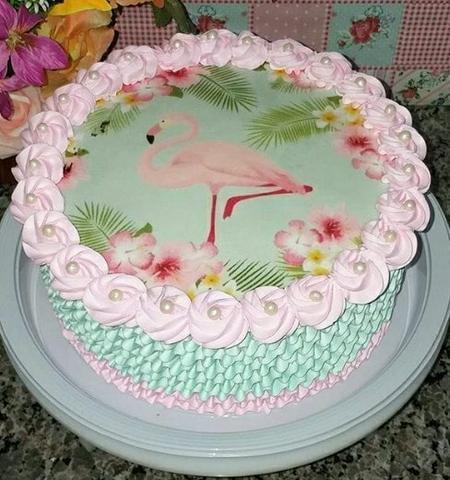 Bolo Tema Flamingo De Papel Arroz