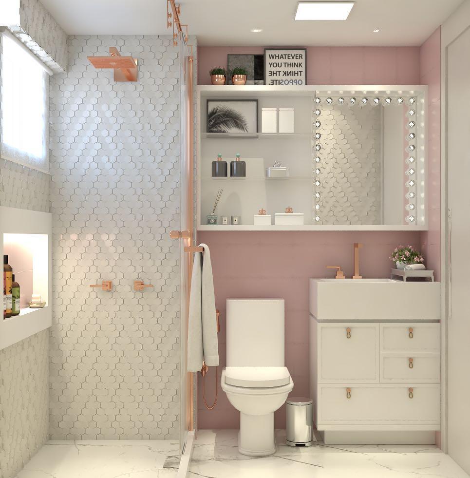 decoração banheiro rosa