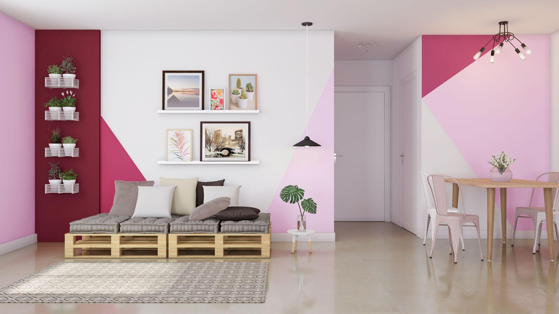 decoração sala rosa