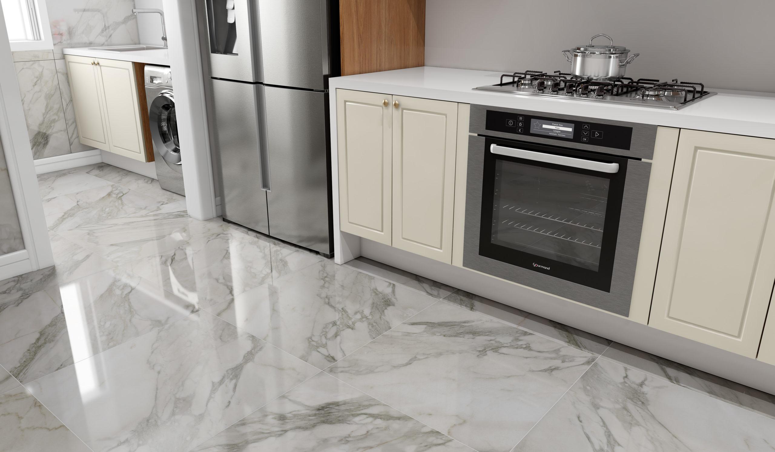 Piso Porcelanato Marmorizado Na Cozinha