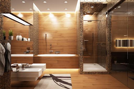 Cozinha E Banheiro Decorada Com Caramelo