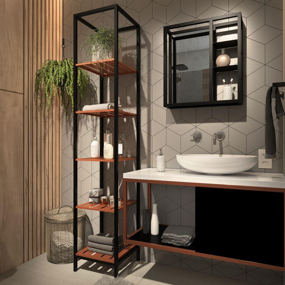 Estante Industrial No banheiro
